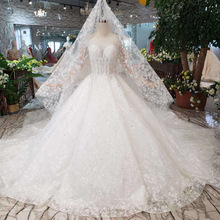 new white trailing princess style wedding dress contracted high-end custom Gown big skirt with long sleeves lace
