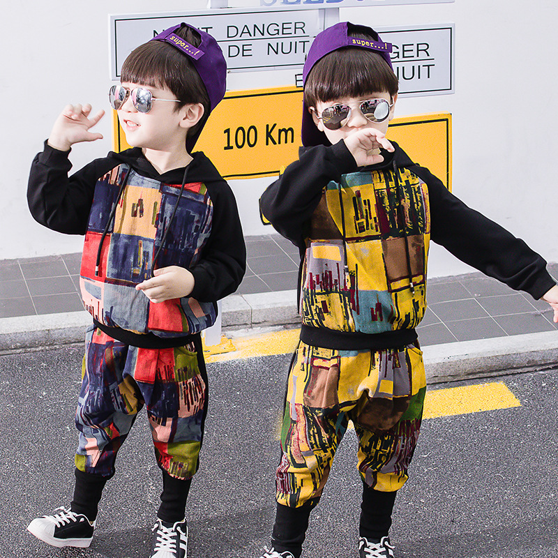 Boys suit casual autumn winter 2019 new long sleeved hooded graffiti plus velvet children 39 s clothing sports warm baby clothes in Clothing Sets from Mother amp Kids