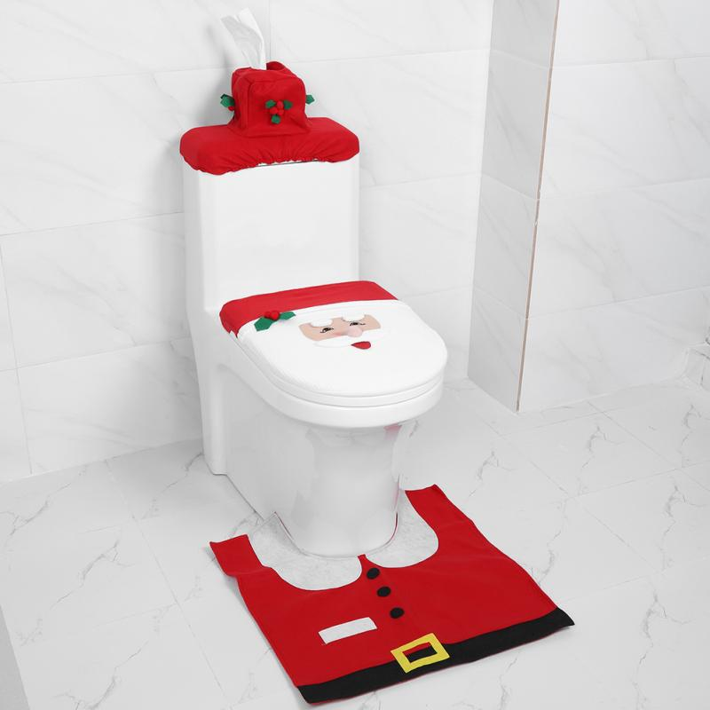 Christmas Decorations For Home Toilet Seat Cover WC Restroom Cover Accessories Bathroom Fancy Santa Claus Toilet Seat Cover