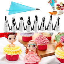 10 PCS/Set Pastry Nozzles and Coupler Icing Piping Tips Sets Stainless Steel Rose Cream Bakeware Cupcake Cake Decorating Tools pastry nozzles icing piping tips stainless steel rose cream bakeware cupcake cake decorating fondant tools mold