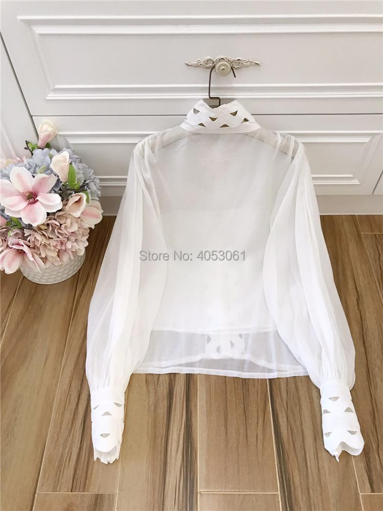 Col Détail Avec blanc Manches 2019ss Perspective Top Slip Défilé Creux blanc Mode Piste Patchwork Montant Bouffantes Noir Noir Blouse Et De Out qfwxHwP61