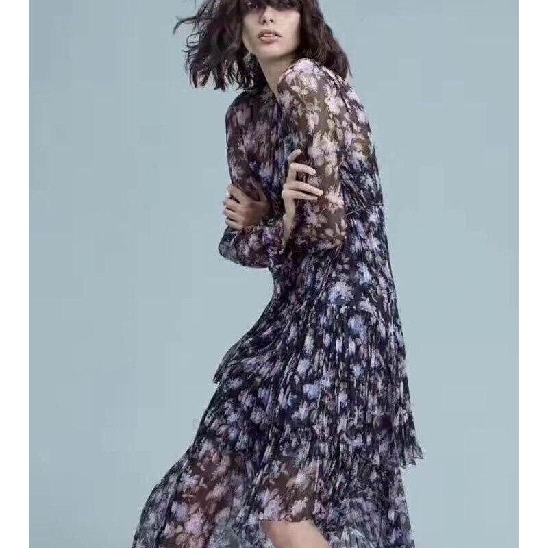18 Фиолетовый Лаванда 100% шелк нерегулярные кисточкой кружево длинное платье Сезон: весна лето с поясничной ленточки платье дл