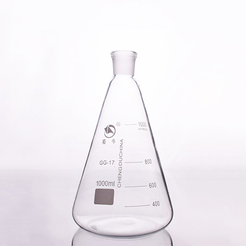 Conical flask with standard ground-in mouth,Capacity 1000ml,joint 24/29,Erlenmeyer flask with tick mark