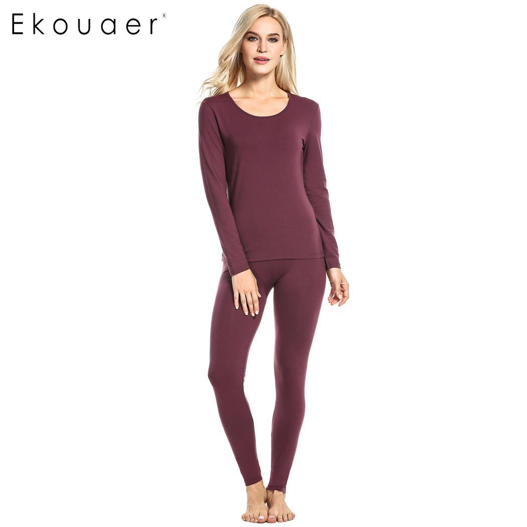 Ekouaer Women Thermal Underwear   Set   Long Sleeve Top and Bottom Sleepwear   Pajamas     Set   Female Spring Autumn Homewear Suit