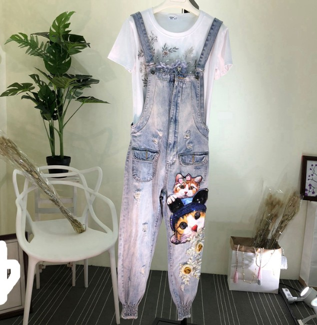 Women's Clothing 2019 New Spring Heavy Stereo Cartoon Sequins Diamond Loose Jeans Jumpsuit Overalls Loose Denim Trousers Students Rompers