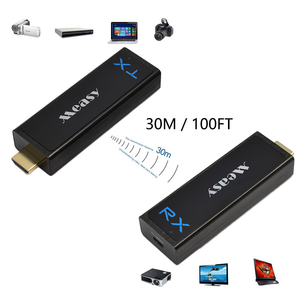 Image 2 - measy Wireless HDMI Transmitter and Receiver HDMI Extender up to 30M/100Feet support 1080P 3D Video to Projector HDTV Monitor-in HDMI Cables from Consumer Electronics