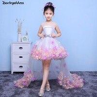 Ball Gown Flower Girl Dresses for Weddings Short Front Long Back Formal Prom Dress for Girl Kids First Holy Communion Dress 2018