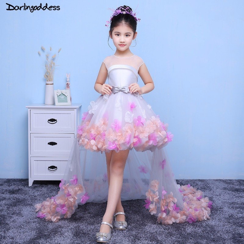 Ball Gown   Flower     Girl     Dresses   for Weddings Short Front Long Back Formal Prom   Dress   for   Girl   Kids First Holy Communion   Dress   2018