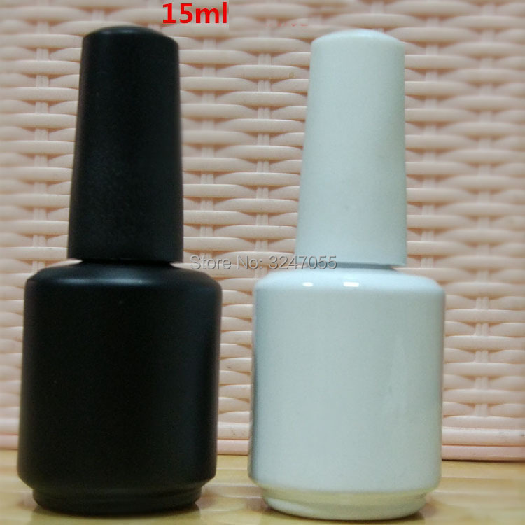 15ML Glass White Black Nail Oil Refillable Bottle Empty Nail Art Polish Container with A Lid