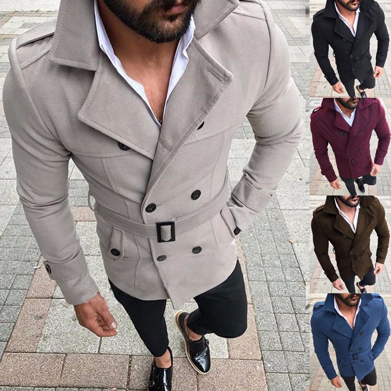 099ba3171 US $19.36 20% OFF|Men Winter Wool Warm Trench Coat Reefer Jackets Double  Breasted Peacoat Outwear-in Trench from Men's Clothing on Aliexpress.com |  ...