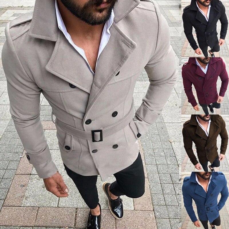 Men Winter Wool Warm   Trench   Coat Reefer Jackets Double Breasted Peacoat Outwear