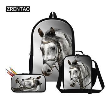 New arrival Kindergarten 3Pcs Set School Backpack Shoulder bag pencilbag Animal Horse Print School Bag Kids Boy Children Bookbag
