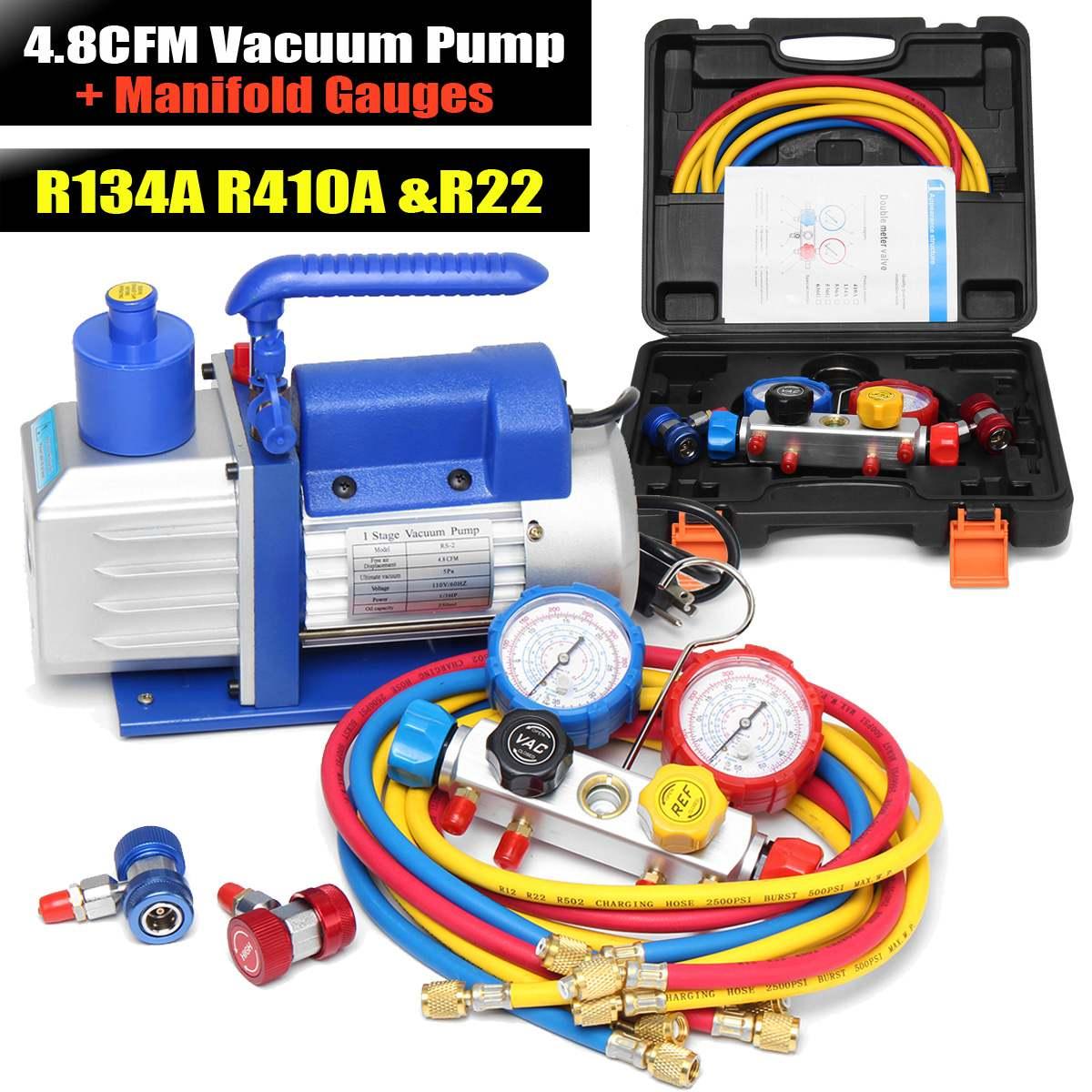 4.8CFM pompe à vide R134A R22 R410A HVA/C réfrigérant W/4 valeur collecteur jauge pompes analyse pompe à vide pour la climatisation