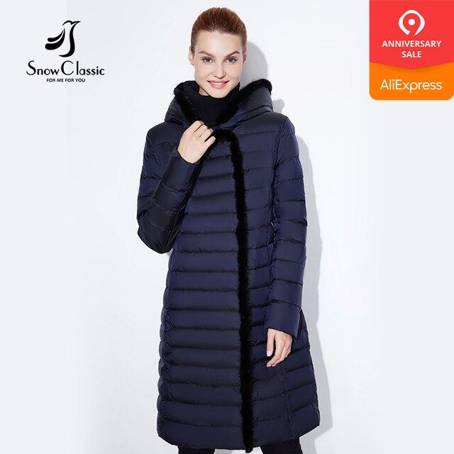 SnowClassic 2018 новый жакет женщин теплый зимний длинный пальто мода весна outwear сплошной тонкий толстый куртка передний край лиса меховой воротник