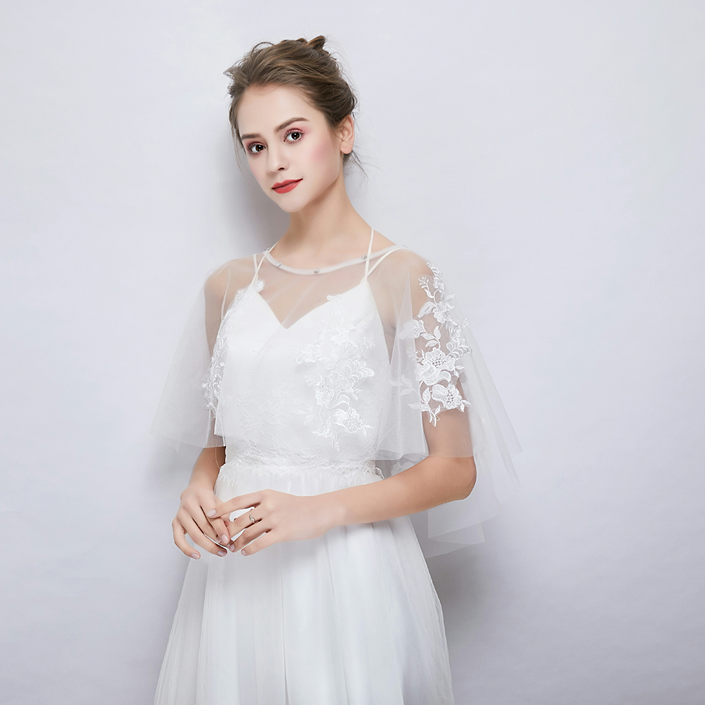 Wedding Gown Cover Ups: White Flower Applique Shawl Sheer Tulle Wrap Bridal