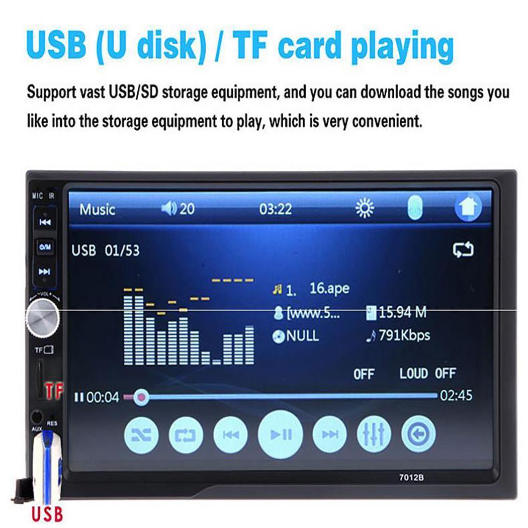7 pouces 2 Din Auto voiture stéréo MP5 lecteur Bluetooth autoradio écran tactile TF USB FM Audio voiture vidéo lecteur multimédia avec caméra