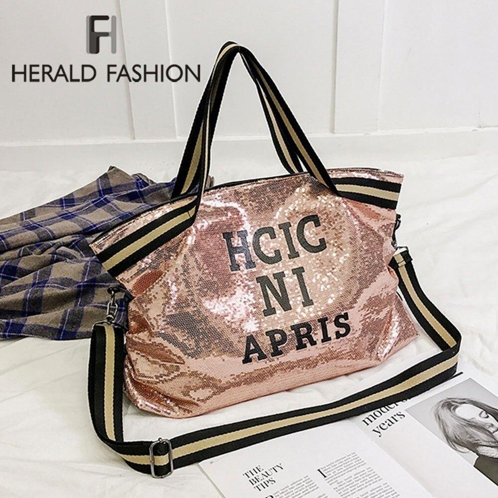 Herald Fashion Women Sequin Letter Printed Handag Female Large Capacity Top-handle Tote Bag Casual Ladies' Shoulder Shopping Bag