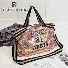 Herald Fashion bolsa envelope feminina, de lantejoulas, estampado, letras, grande capacidade, alça superior