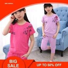 Children Clothing Sets Summer Girls Sports Suit Cotton Print Short Sleeve T-shirt+Pants 2Pcs Girls Clothes стоимость