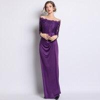 New Women Long Slash neck Strapless Party Dress Dresses Purple Qi Yards 3521