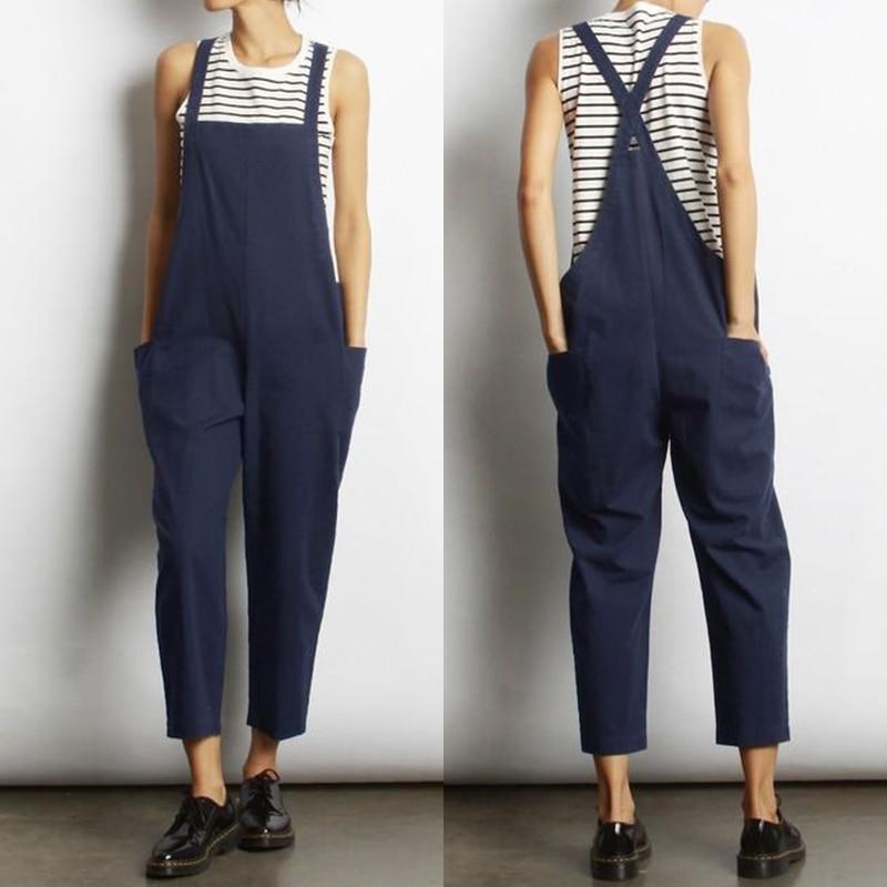 Overalls Jumpsuits ZANZEA Women's Strappy Playsuits 2019 Vintage Summer Pants Female Strap Rompers Plus Size Linen Pantalon