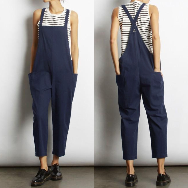 Overalls Jumpsuits ZANZEA Women's Strappy Playsuits 2019 Vintage Summer Pants Female Strap   Rompers   Plus Size Linen Pantalon