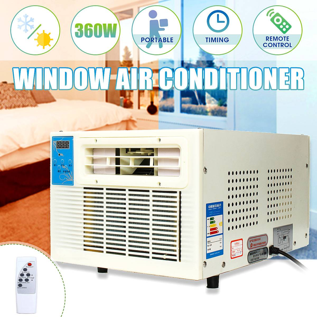 Mini 900W 3072 BTU Cold/Heat 220V Portable Heater Air Conditioner Window Air Conditioner Cooling Heating DehumidificationMini 900W 3072 BTU Cold/Heat 220V Portable Heater Air Conditioner Window Air Conditioner Cooling Heating Dehumidification
