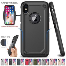 Military Shockproof Armor Phone Case For Iphone X Xs Max Xr 7 8 6 6s Plus Hybrid Pc+tpu Slim Rugged Protective Case Defend Cover stylish shockproof and rugged mechanical hybrid case for iphone xr x 6 s 7 8 plus and iphone xs max tpu silicone case