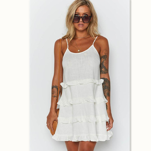 Summer Dresses 2019 New Women Summer Casual Sleeveless O Neck White Tiered Cake Strap Loose Mini Dress in Dresses from Women 39 s Clothing