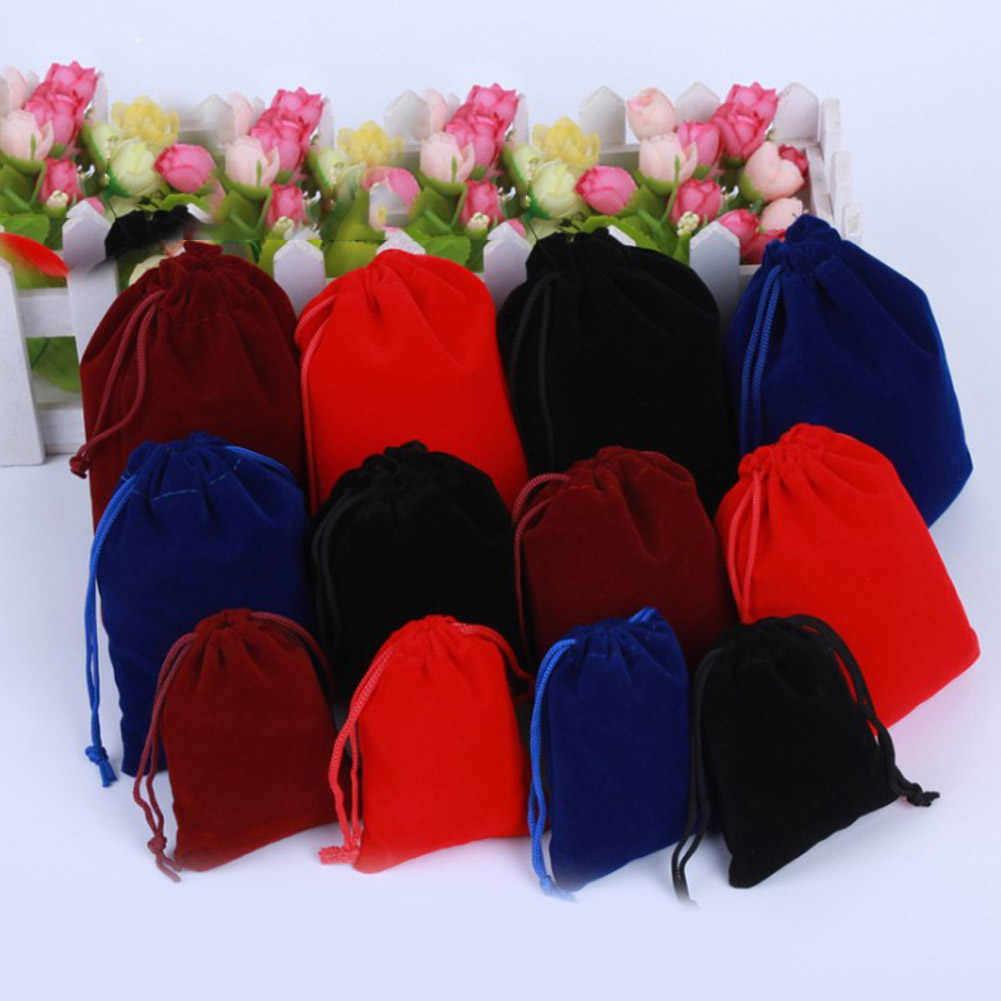 10pcs 3 Sizes Packing Drawstring Velvet Pouch Sachet Gift Bag For Jewelry Wedding Things Party Bead Container Storage Wholesale
