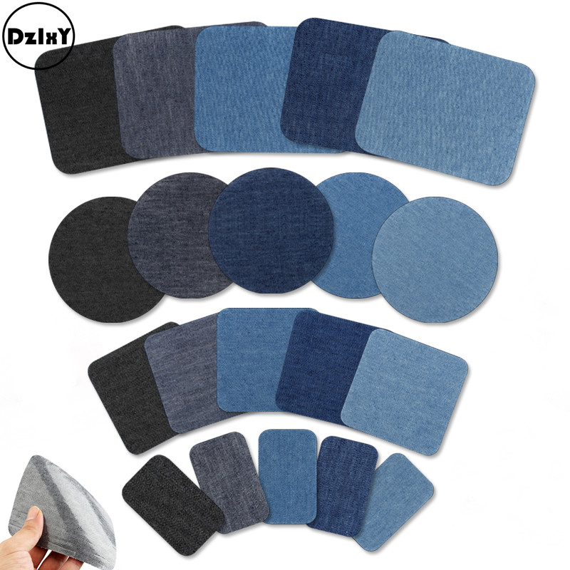Denim Patches For Clothes DIY Stripes Iron On Appliques Jeans Pants Knee Clothing Stickers T-shirt Elbow Embroidery Badges @D