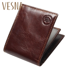 Vesna New RFID BLOCKING Genuine Leather Men's Wallets Male Bifold Purse Small Dollar Wallet Cowhide Bifold Purse Card Holders mens gentleman black real genuine cowhide leather bifold clutch wallet coin purse pouch id card dollar package indian head