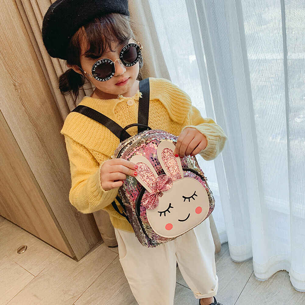 2019 NEW Baby child girl backpack college wind cute bow rabbit fashion sequins bag