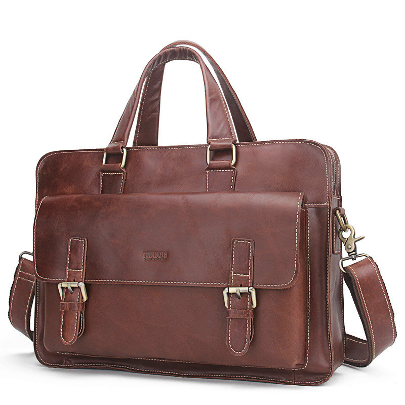 Luxury Genuine Leather Men Briefcase Laptop Bag Leather Briefcase Portfolio Men Business Bag Male Briefcase Document Office Bag