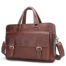 Luxury Genuine Leather Men Briefcase Laptop Bag Portfolio Business Male Document Office