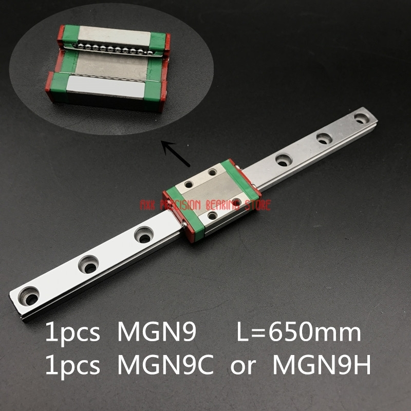 Cnc Router Parts Linear Rail AXK 9mm Linear Guide Mgn9 L= 650mm Rail Way + Mgn9c Or Mgn9h Long Carriage For Cnc X Y Z AxisCnc Router Parts Linear Rail AXK 9mm Linear Guide Mgn9 L= 650mm Rail Way + Mgn9c Or Mgn9h Long Carriage For Cnc X Y Z Axis