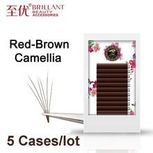 BRILLANT 5 Cases Reddish Brown Camellia Hybird Classic Volume Caramel Dark Coffee Bloom Colour Grafting Eyelashes Ciliary
