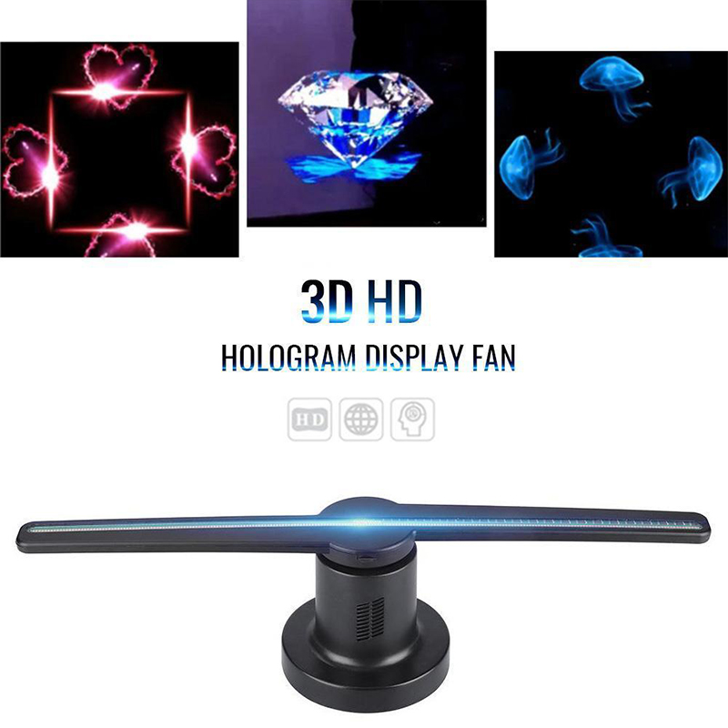 LED WIFI 3D Advertising Hologram Projector Holographic 42cm Advertising Fan Displayer 3D Holograma+8GB TF image