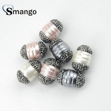 10 Pieces,Fashion  Jewelry Accessories,The Shape of Oval Pearl and Crystal Connectors,Can Wholesale