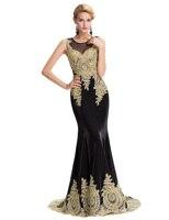 Women dress formal Sleeveless Golden Appliques Mermaid Evening Prom lady dress Party Dress