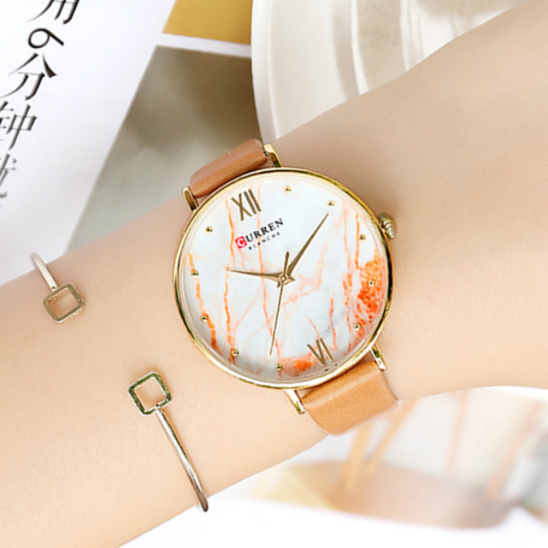 Creative Marble Dial Ladies Watches 2019 Best Gift For Women Fashion Analog Quartz Wrist Watches CURREN Reloj Mujer Montre Femme
