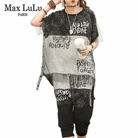 Max LuLu Summer Luxury Korean Leopard Ladies Tops And Pants Womens Sexy Two Pieces Set Printed Outfits Vintage Overszied Clothes