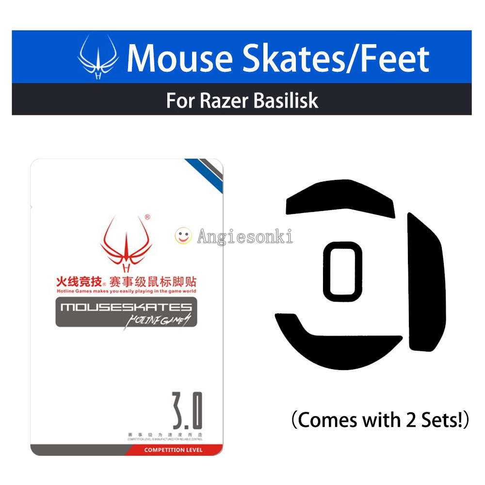 1pack 2sets Mouse Feet Skates Teflon 0.6mm for Ra.zer Basilisk Ergonomic Chroma FPS Gaming mouse image