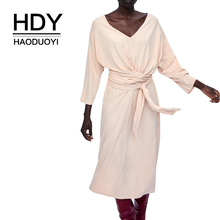 HDY haoduoyi Simplee Elegant Women Cotton Cropped Sleeve Lady Wrap Solid V-neck Belt Dress