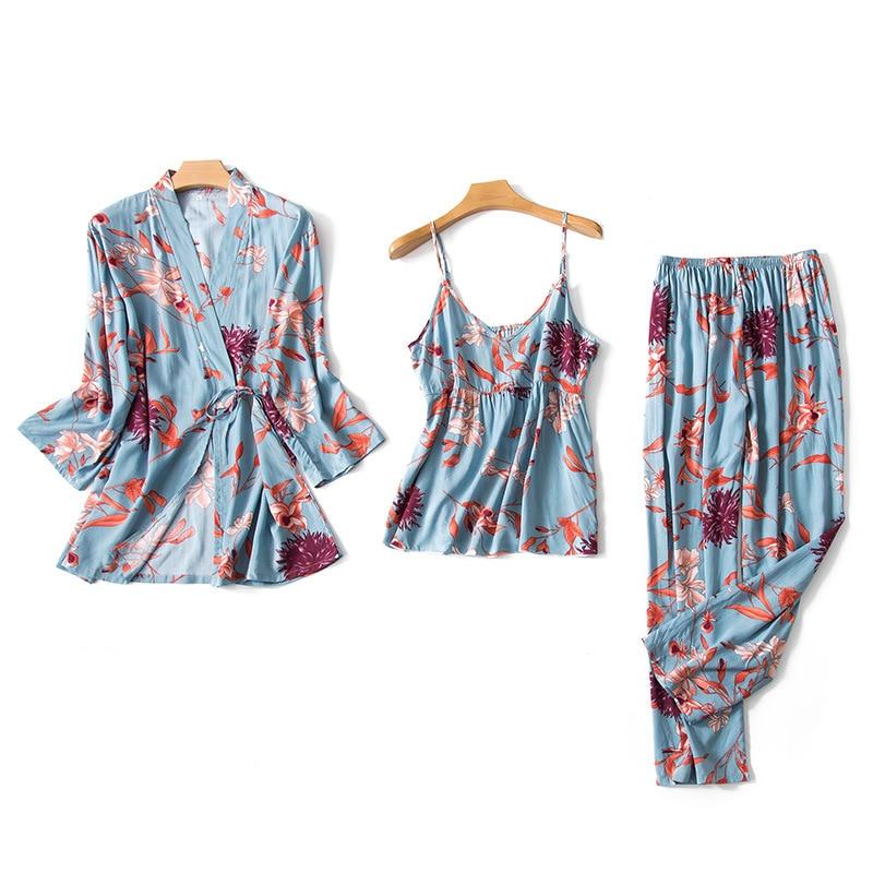 2019 Women Pajamas Sets 3 Pieces Thin Spaghetti Strap Cotton Sleepwear Flower Print Loose Pyjama Home Clothing Pijama
