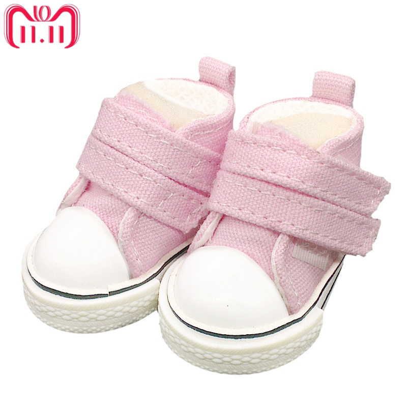 Tilda 5pairs/lot 5cm Canvas Shoes For BJD Doll, Mini Textile Doll Boots 1/6 Denim Sneakers Shoes for Tilda Doll Toy Accessories