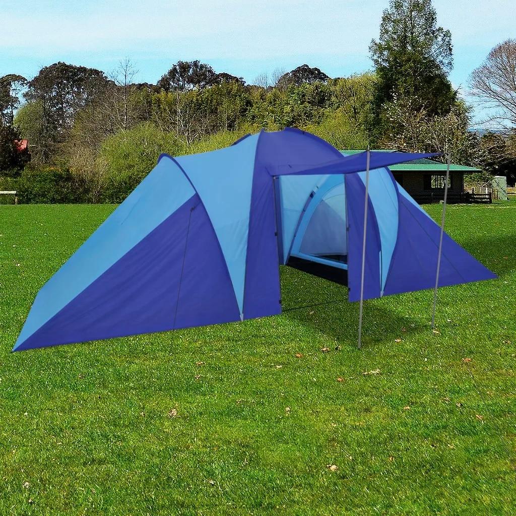 VidaXL tente de Camping étanche 6 personnes bleu confortable 2 fenêtres avec moustiquaire voyage Camping extérieur grande tente