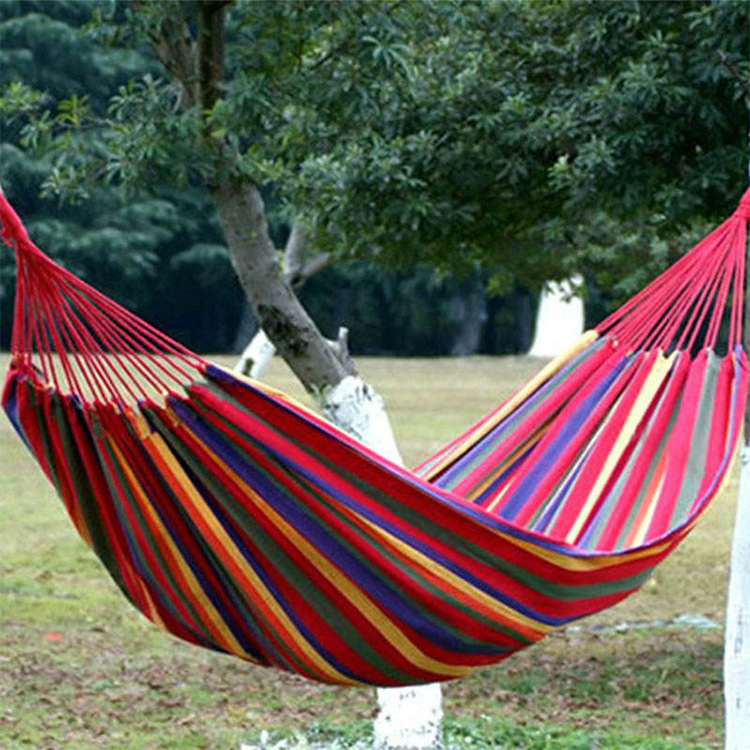 The Single-person Canvas Hammock Camping Hanging Chair Bedroom Furniture Kids Swing Chair Blue White Dropshipping
