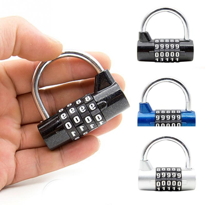 Travel Small Security Lock U-shaped Password Gym Coded Lock Club Cupboard Cabinet Suitcase 5 Dial Digit Number Padlock