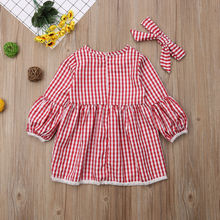 Family Match Clothes Puff Long Sleeve Red Plaid Dresses Outfits